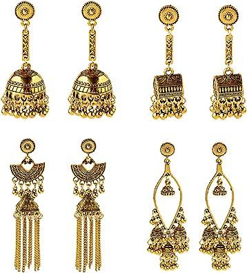 Lotus Oxidized Jhumkas Earrings,Indian Oxidized Jhumkas Earrings,Ethnic Earrings,Oxidized Earrings