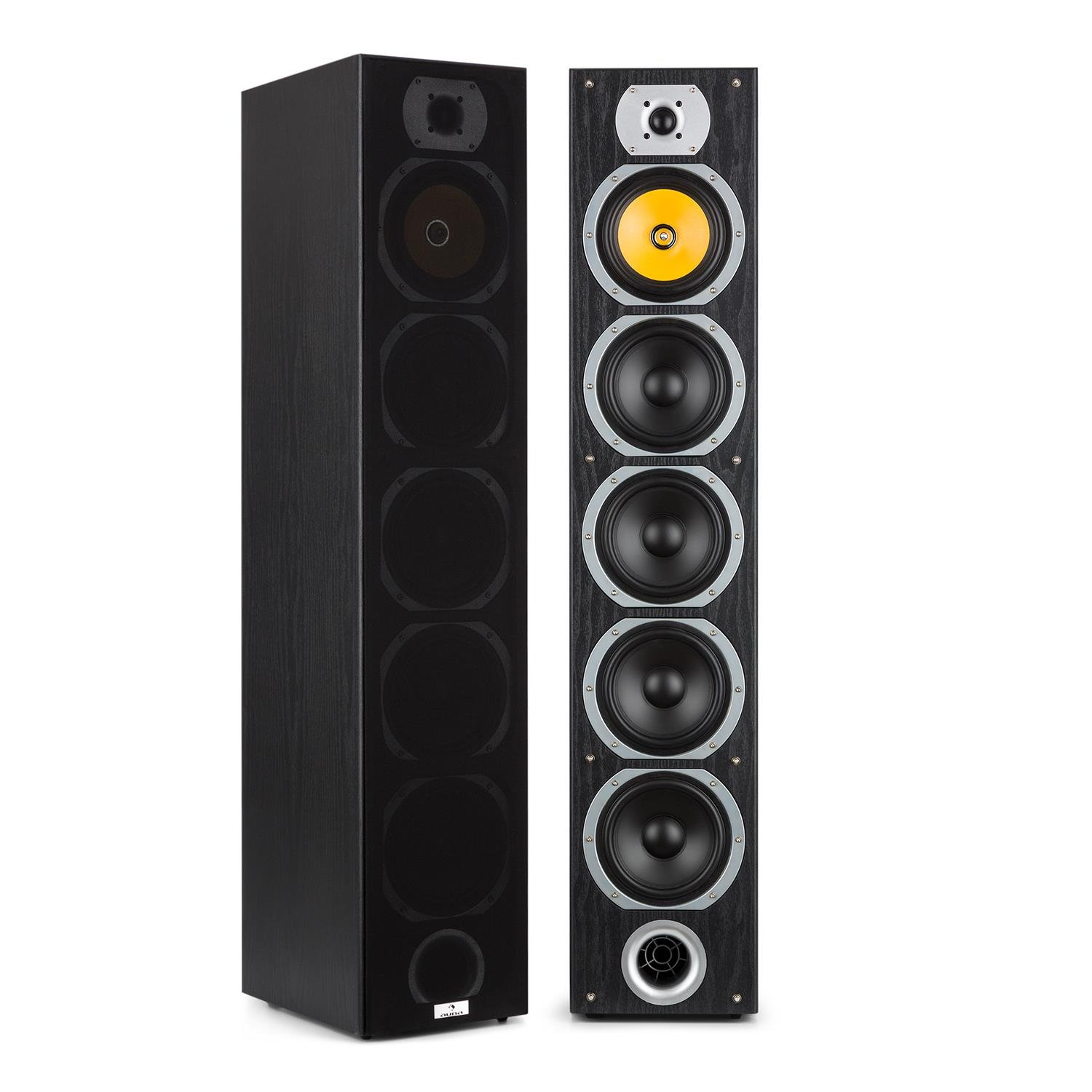 Skytronic SHFT52B Tower Speakers /• Pair /• Floor Standing /• HiFi Home Theatre /• 500W /• Side-Subwoofer /• Elegant Design /• Wide Frequency Range /• 88dB SPL /• 3-Way System /• 8 Ohm Impedance /• Black
