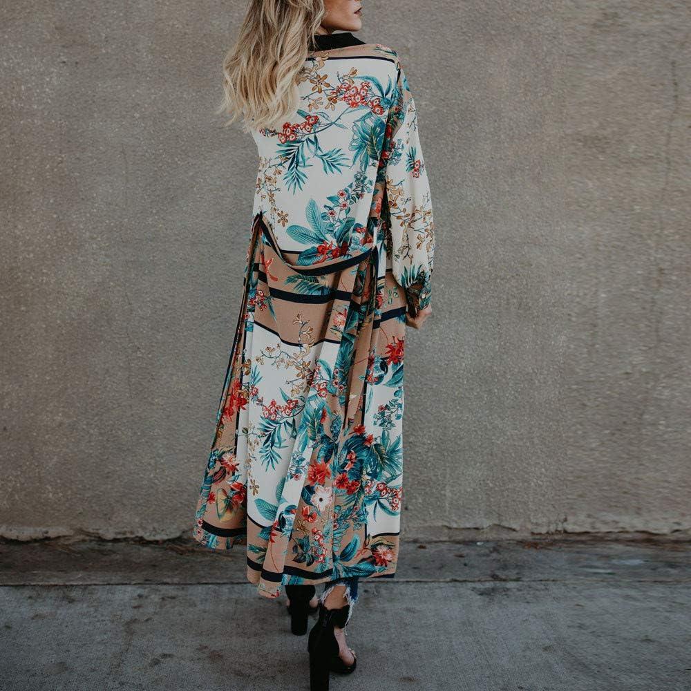 Womens Kimono Cardigan AgrinTol Belt Bandage Shawl Print Top Cover Up Blouse