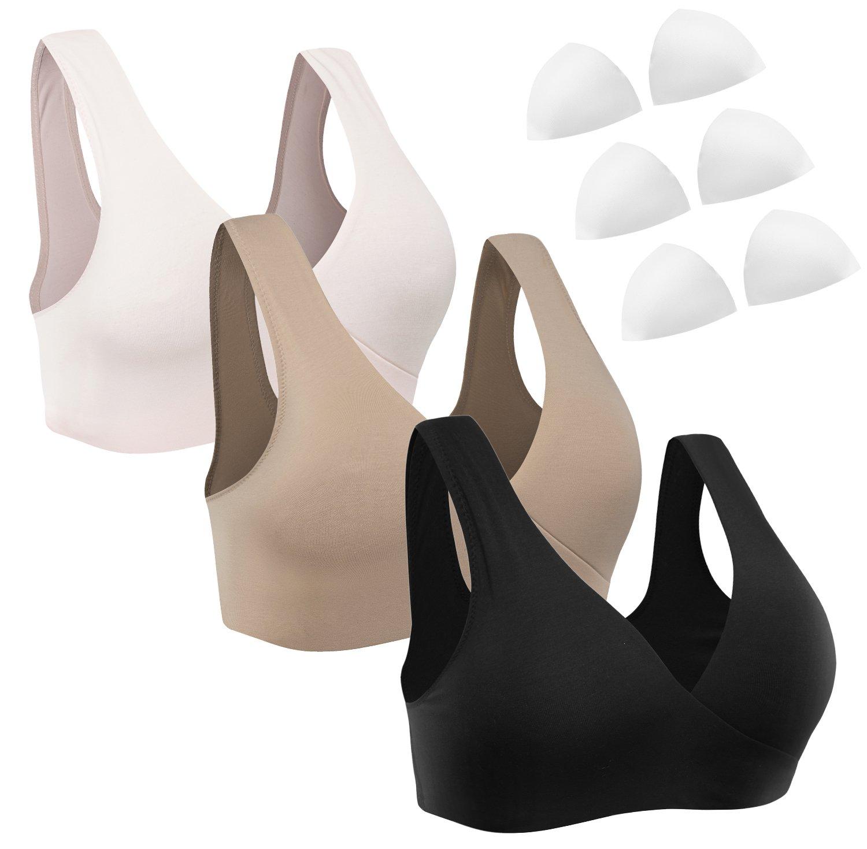 HOFISH 3 Pack Soft Touch Underwire Modal Nursing Maternity Sleep Bra Pink,Black,Beige L
