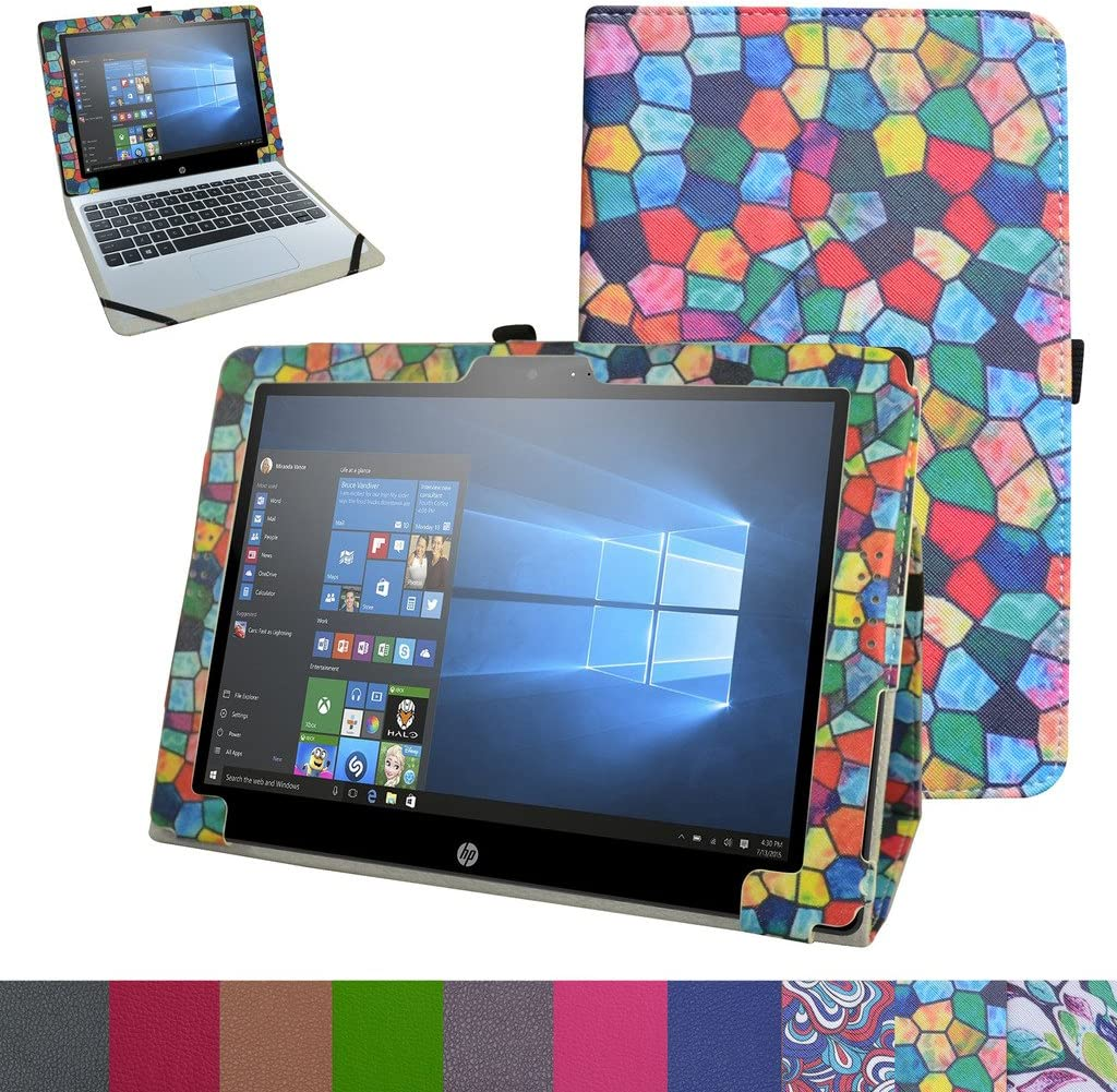 "HP Pavilion X2 12 Case,Mama Mouth PU Leather Folio 2-Folding Stand Cover for 12"" HP Pavilion x2 12 12-b020nr 12-b010nr Windows 10 Tablet 2016,Stained Glass"