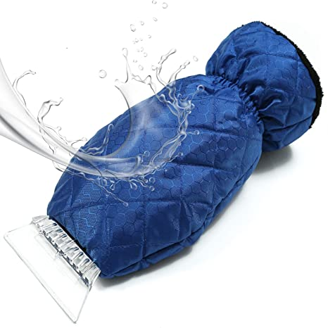 Waterproof Snow Scraper with Lined Fleece Glove Windscreen Snow Ice Scraper Remover,Blue Car Ice Scraper Mitt for Windshield