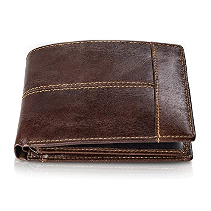 Cartera Hombre Cuero Cartera de Piel Monedero Tarjetro Billeteras RFID Bloqueo para 16 Tarjetas de Crédito con ID Ventana Slim Bifold Gran Capacidad ...