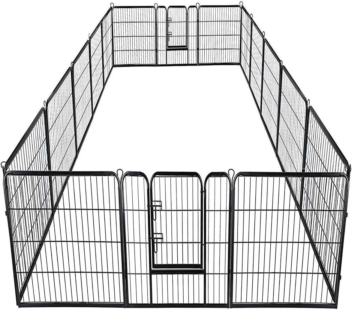 Giantex 16 8 Panel Pet Playpen with Door, Foldable Dog Exercise Pen, Portable Configurable Cat Chicken Rabbit Fence Outdoor Outdoor, Metal Pet Exercise Fence Barrier Kennel