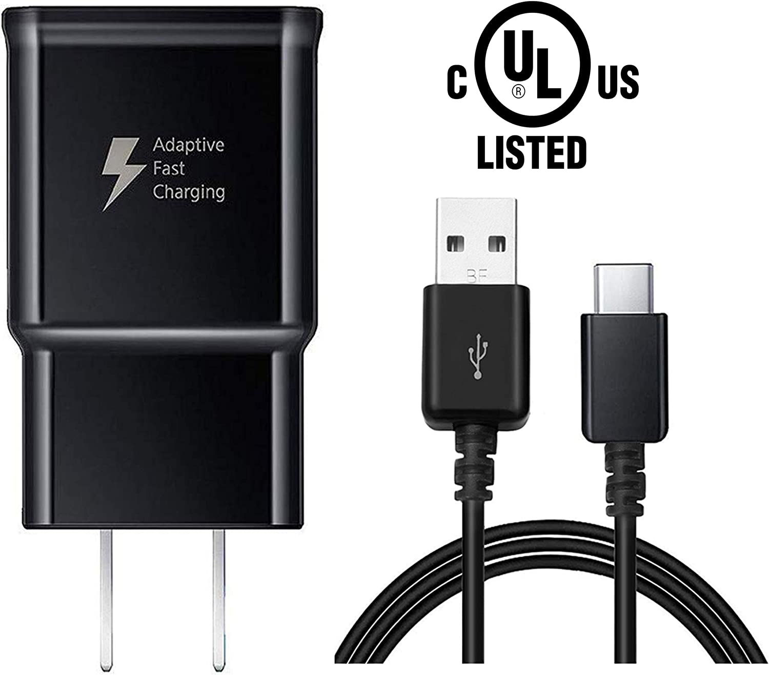 Adaptive Fast Wall Charger with USB Type-C Cable Compatible with Samsung Galaxy S8/S8 Plus/ S9/ S9+/ S10/ S10 Plus/Note 8/ Note 9 (Black)