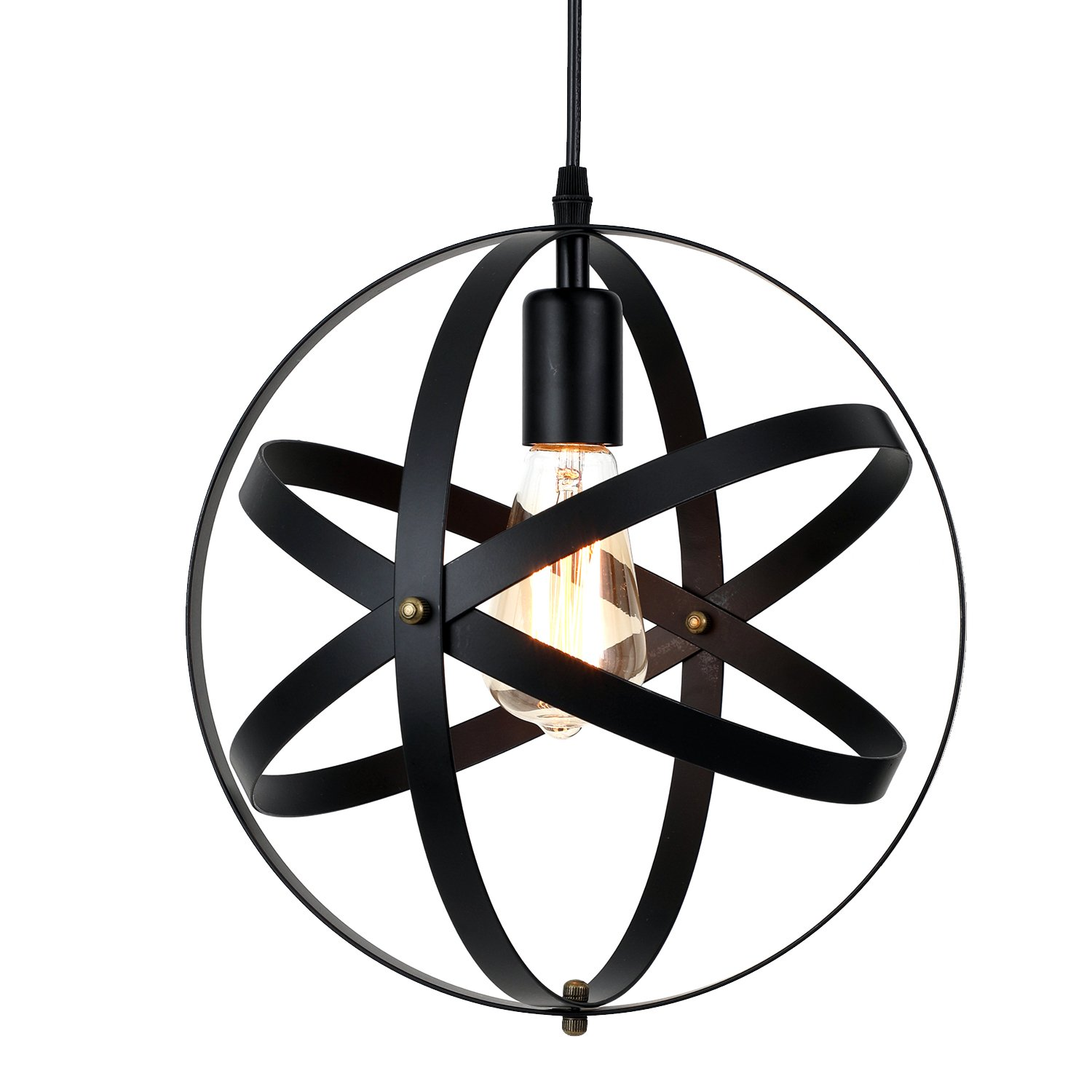 Pauwer Industrial Spherical Pendant Light Vintage Sphere Chandelier Lighting Glob Hanging Light Fixtures (Black B) by Pauwer (Image #1)