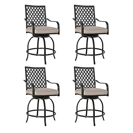 Patio Tree Outdoor Patio Swivel Bar Stools Chairs with Beige Cushions Set of Four