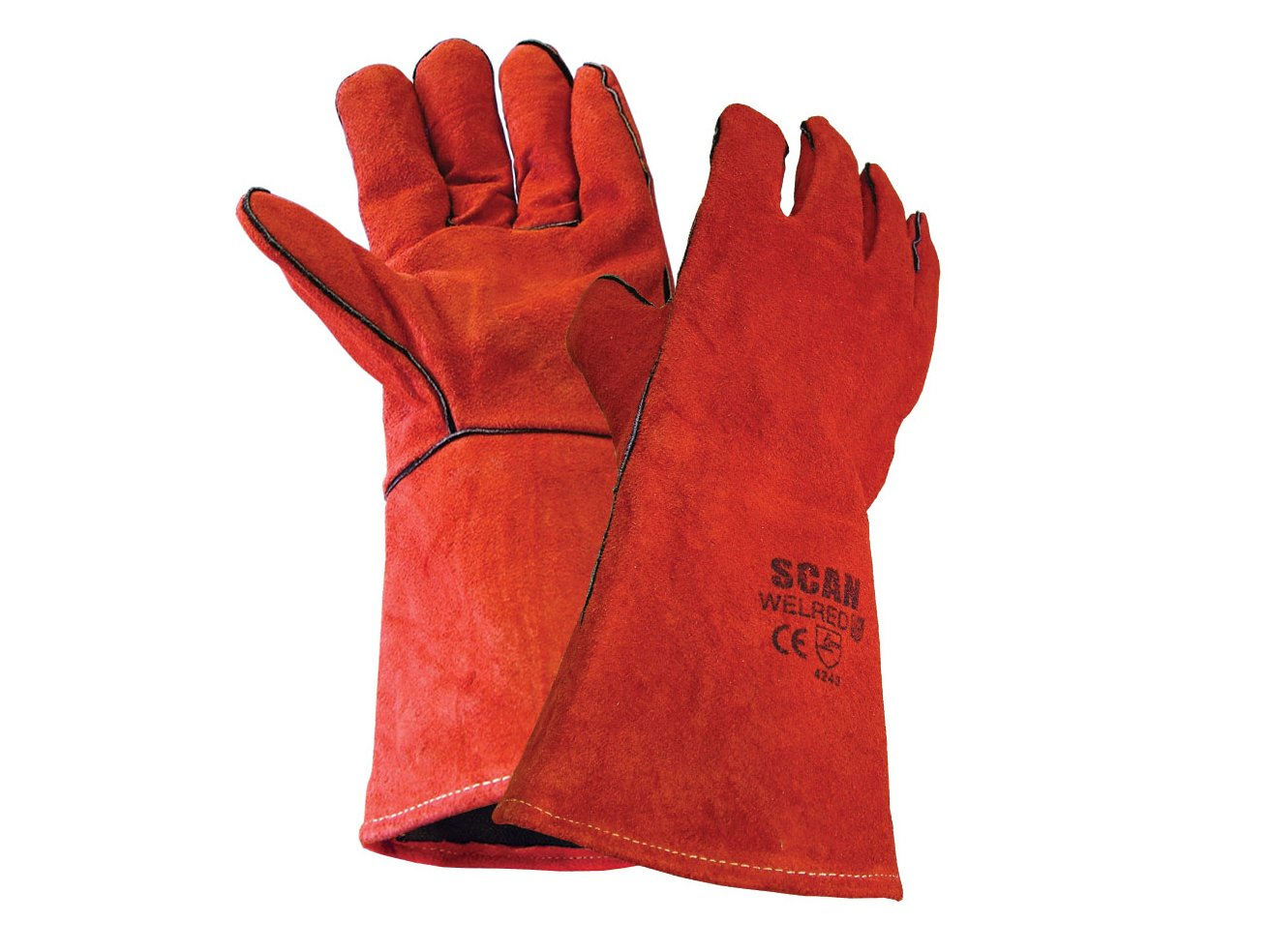 Scan GLOWELRED Schutzhandschuhe für Schweißer, Rot SCAGLOWELRED