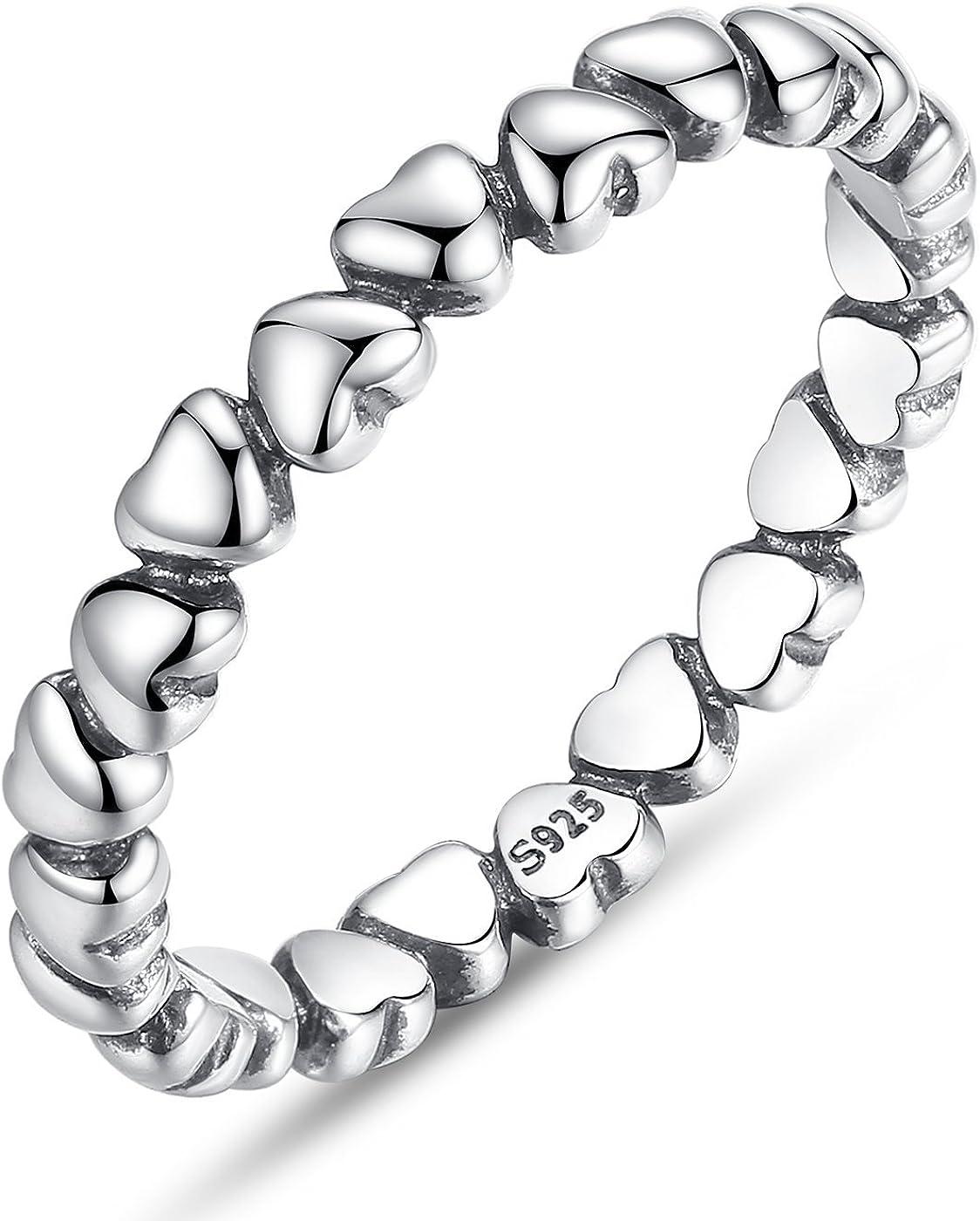 BAMOER Endless Love Heart Stacking Ring for Women 925 Sterling...