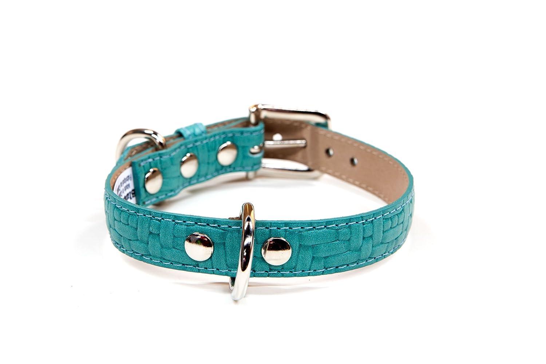 blueemax blueemax Genuine Leather Basket Weave Dog Collar, 1-Inch by 18-Inch, Turquoise