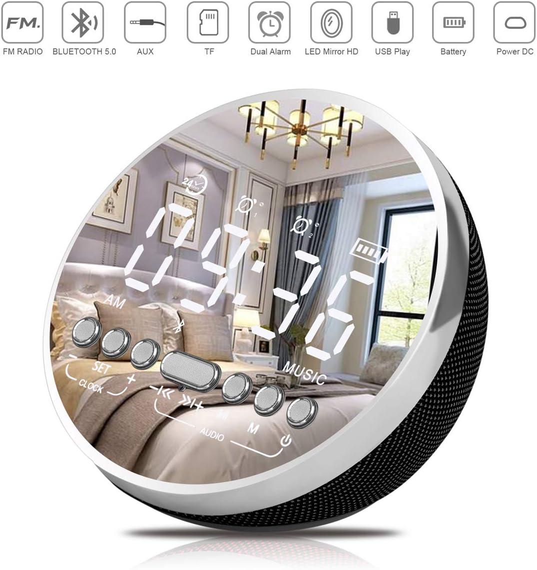 MENESO Alarm Clock Radio with FM Radio, Digital Alarm Clock Speaker,LED Alarm Clock for Bedrooms and Battery Backup and USB Port Charging Newest Version Black