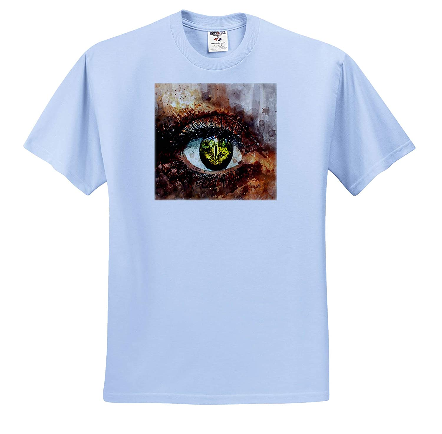 Watercolor Art T-Shirts 3dRose Lens Art by Florene Image of Watercolor of Human Eye in Closeup