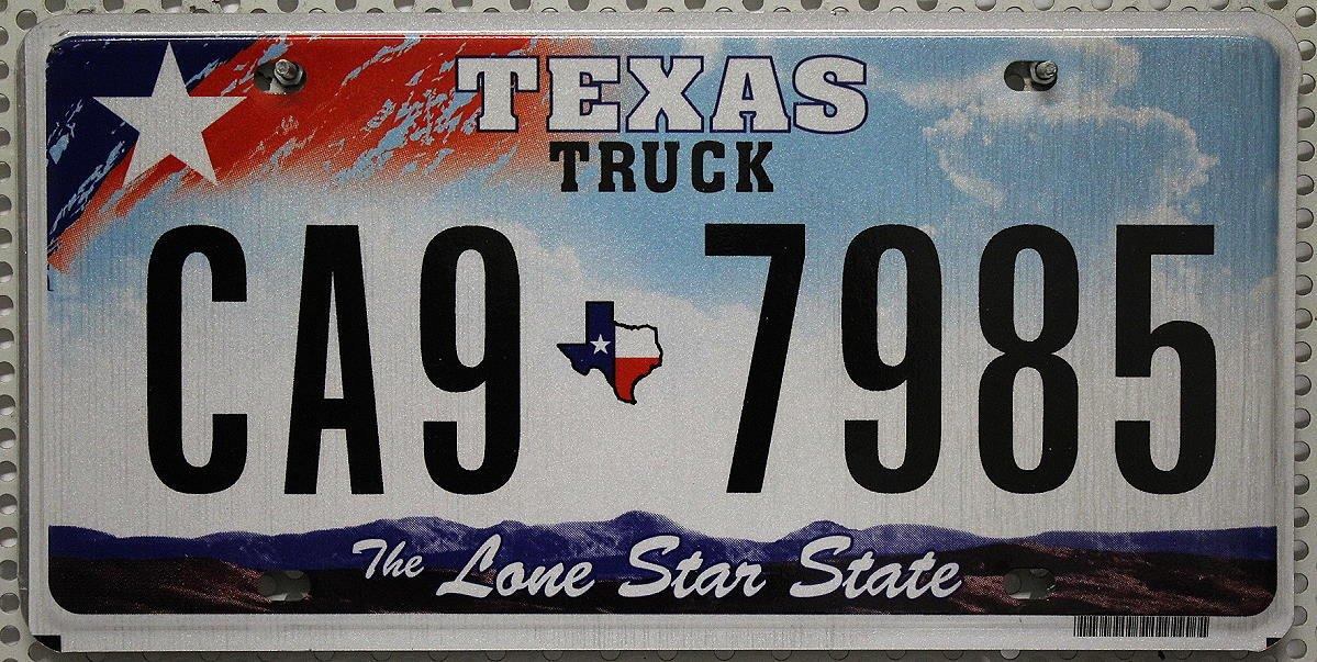 USA/_Auswahl/_von/_Fahrzeugschildern ► USA Nummernschild Texas Truck ~ US Kennzeichen Lone Star State License Plate ~ Blechschild
