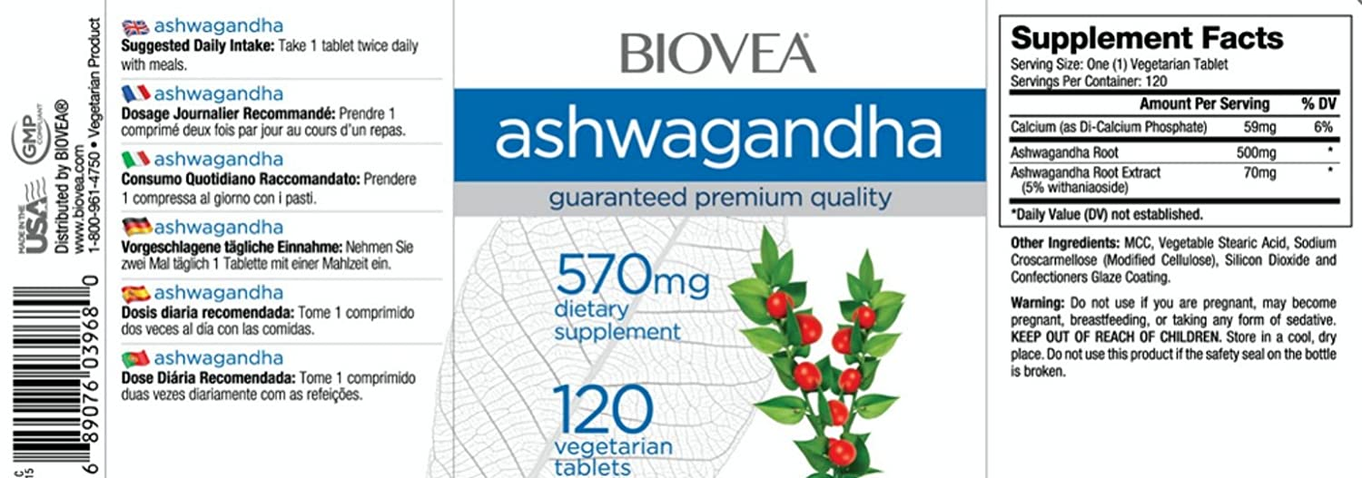 Amazon.com: Dr Alexs #TrustedSource ASHWAGANDHA (Full-Spectrum) 570mg - 120 Tablets by BIOVEA: Health & Personal Care