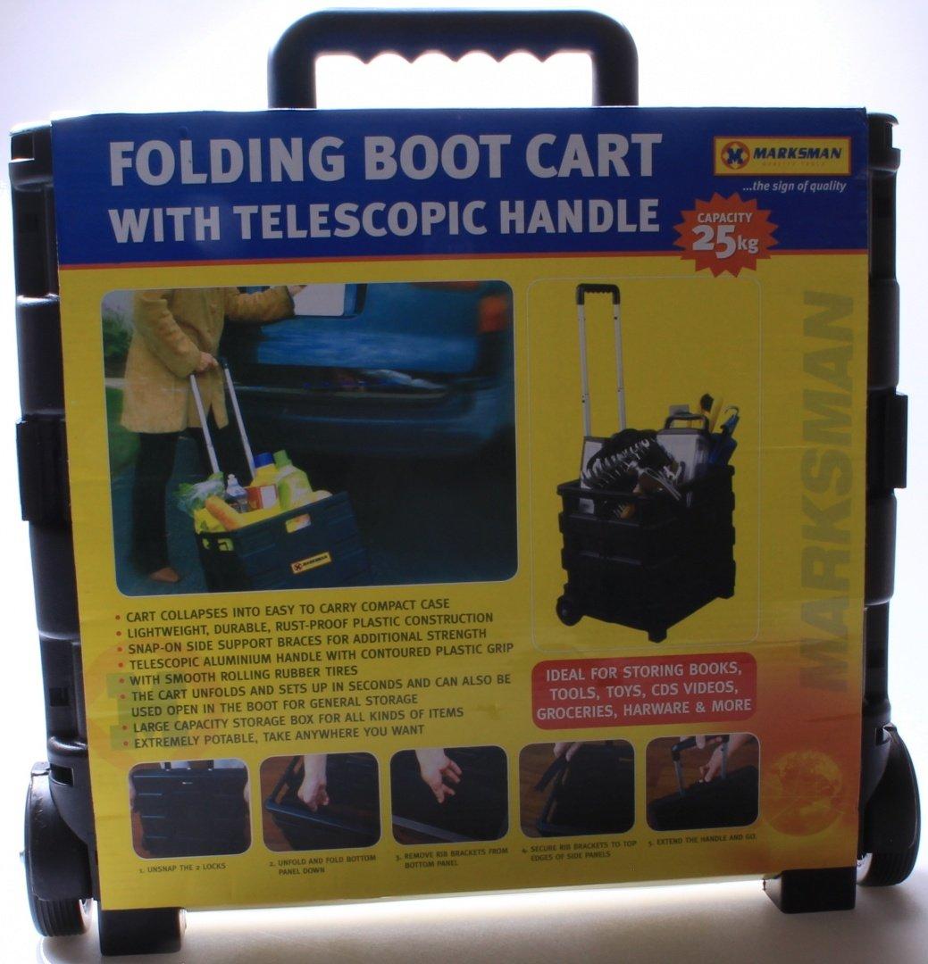 25kg Folding Shopping Trolley Storage Boot Cart Box Crate Car Van Camping Black Guilty Gadgets
