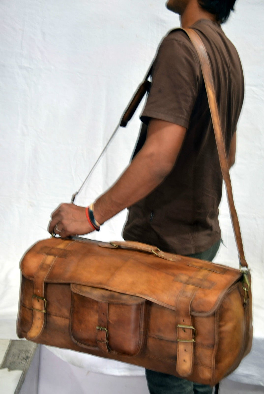 Urban Dezire Leather Duffel Travel Gym Overnight Weekend Leather Bag Sports Cabin by Urban Dezire (Image #5)