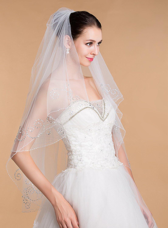 Liveinu Womens 2 Tier Wedding Bridal Veil with Sparkly Crystals Edge