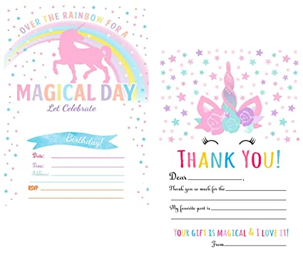 amazon com unicorn birthday party invitations for girls 25 counts