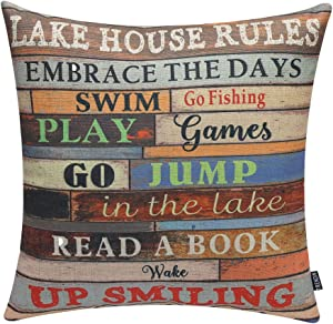 "TRENDIN 18"" X 18"" Vintage Wooden Style Colorful Lake House Rules Linen Cotton Cushion Cover Pillow Case Home Decoration (PL048TR)"