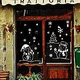 Stickers Muraux Vitres Decoration de Noël,Koly blanche Flocon de neige et bonhomme de neige cadeau NoëL Autocollants DéCoration Salon Fenêtre De La Chambre