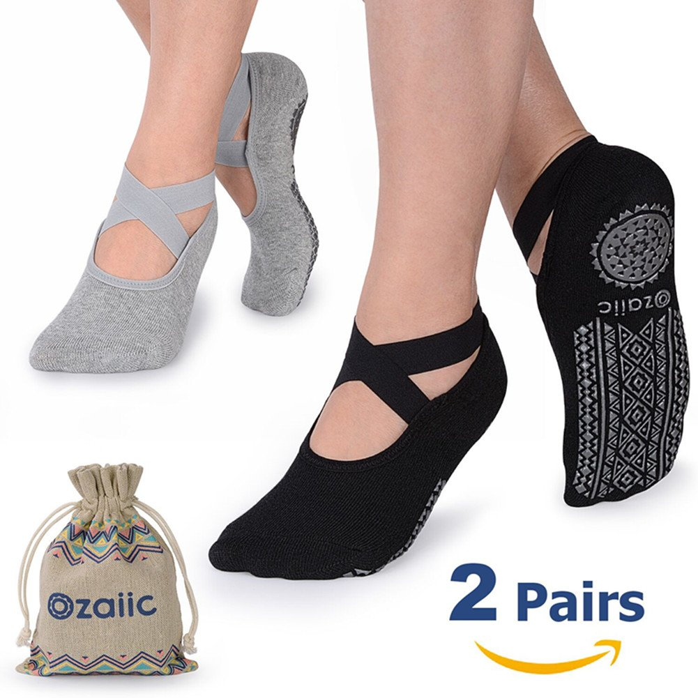 Yoga Socks for Women Non-Slip Grips & Straps, Ideal for Pilates, Pure Barre, Ballet, Dance, Barefoot Workout (Black Gray, One size)
