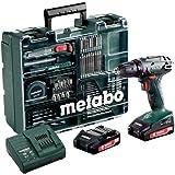 Metabo 602207880 Akkuschrauber / Bohrschrauber BS 18 Set Mobile Werkstatt | +Schnellspannfutter, Gürtelhaken, 2 Akkus, Ladegerät, Koffer, Zubehör Set  (Li-Ion 18V 2Ah)
