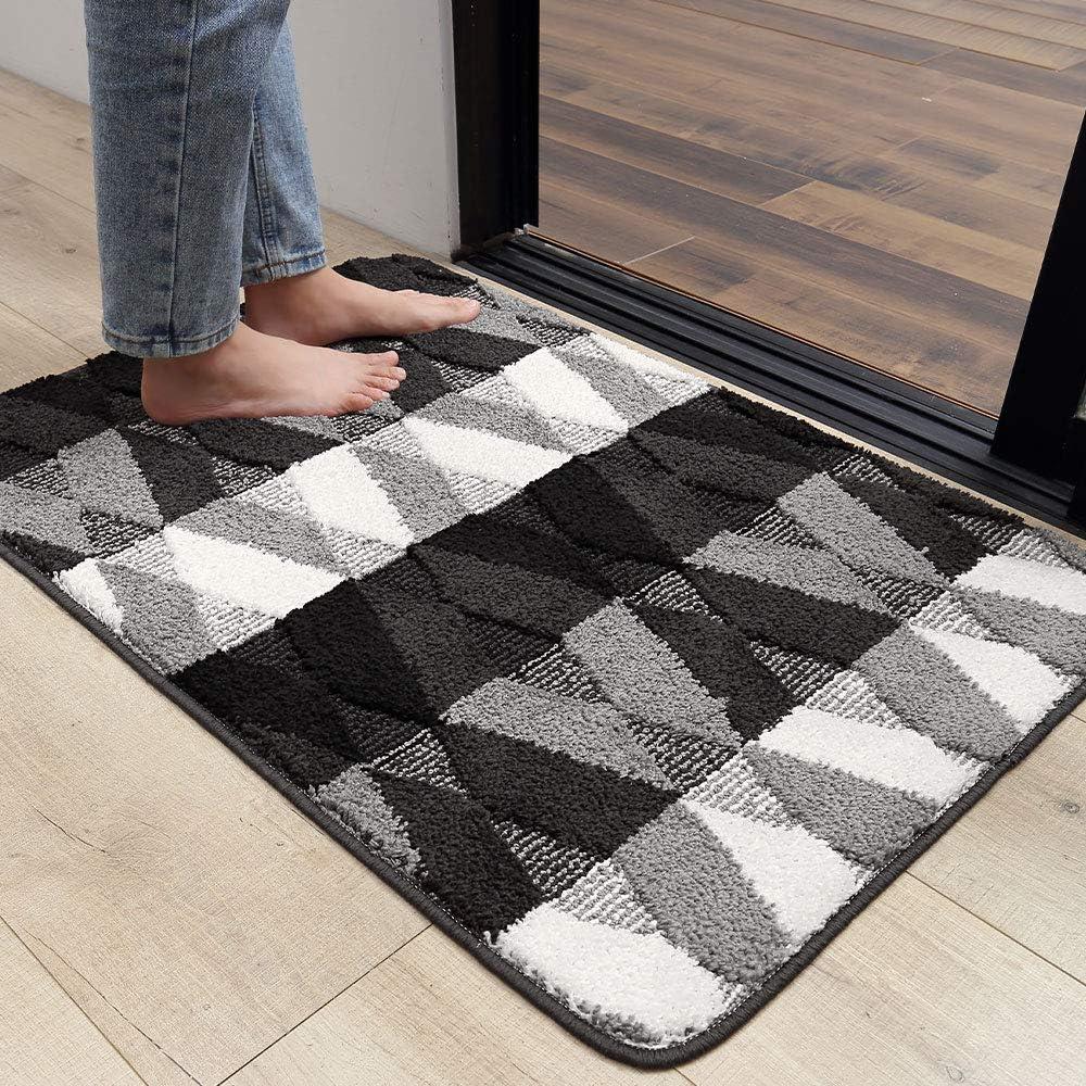 """DEXI Indoor Doormat Front Back Door Mat, 32""""x48"""" Water Absorbent Low-Profile Mud Mat Non Slip Large Door Rug for Inside Entrance Machine Washable(Black Diamond)"""