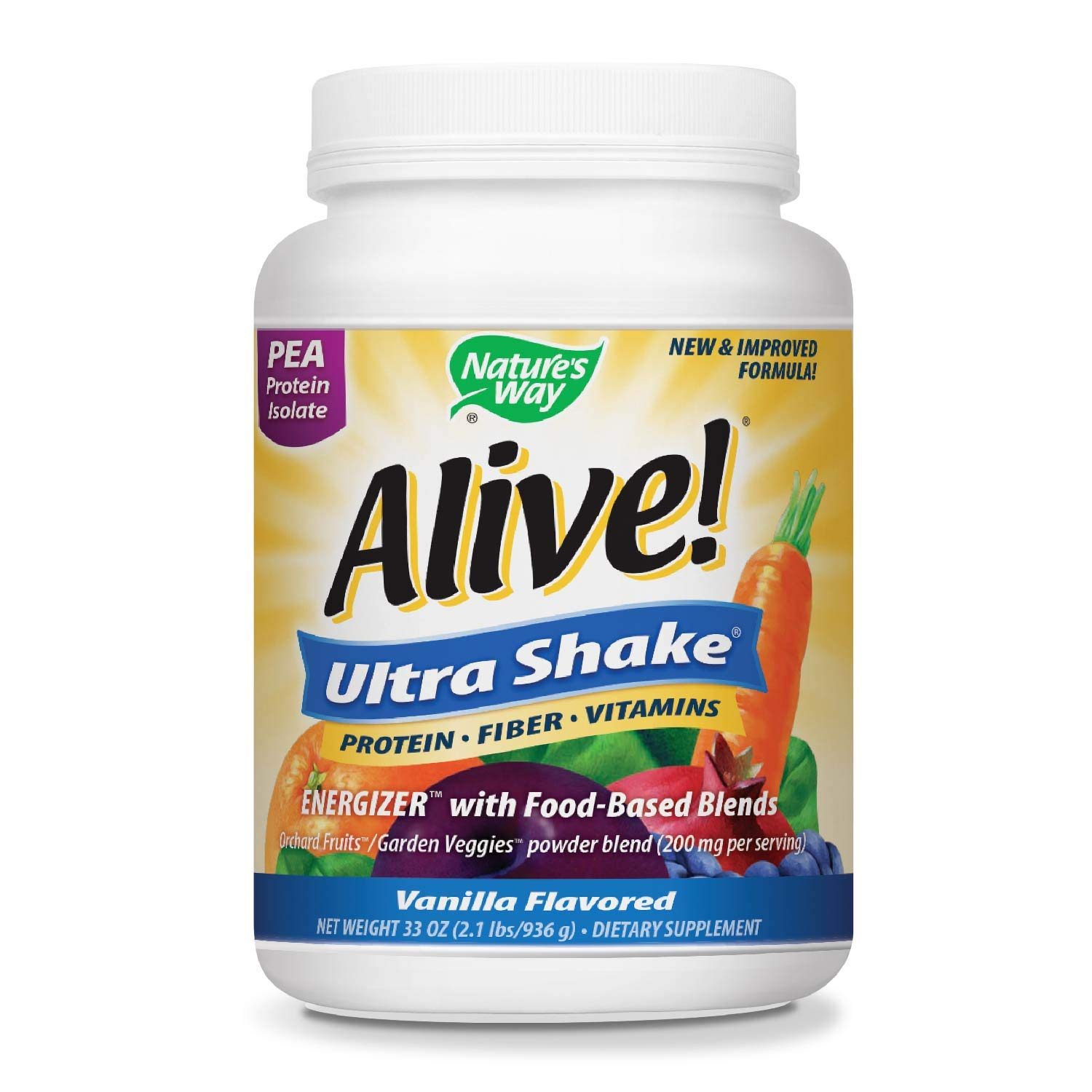 Nature's Way Alive! Pea Protein Shake, Includes Vitamins, Fiber and Food-Based Blends (1,150mg per serving), Vanilla Flavor, 26 Servings by Nature's Way