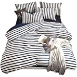 Merryfeel Cotton Quilt Cover Set,100% Cotton Jersey Knit Striped Duvet Cover with 2 Pillowcases,3 Pieces Doona Cover Set-Blue Stripe Queen