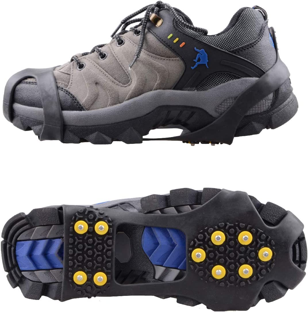 Hiking on Snow and Ice Climbing Jogging Azarxis Walk Traction Ice Cleat Spikes Crampons with 10 Spikes Snow Grips Stretch Footwear Traction for Walking