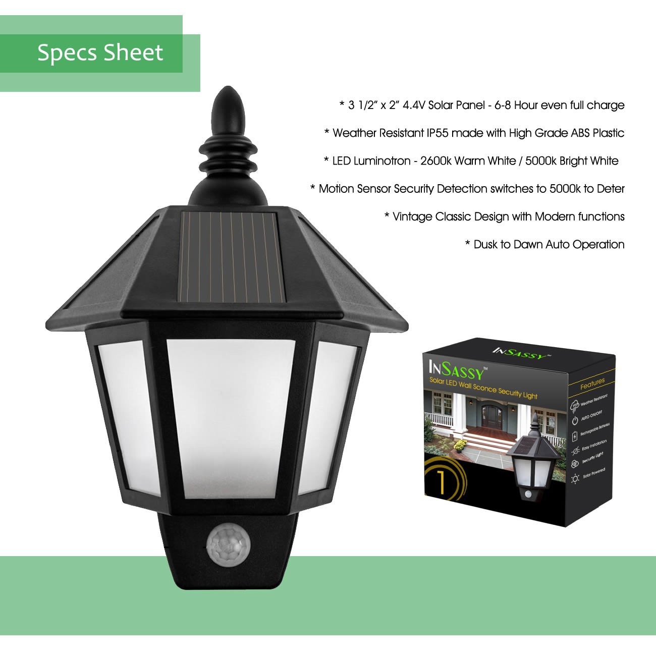 Solar Wall Sconce Lights Outdoor Security With Motion Sensor By