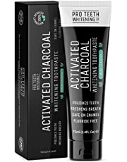 Activated Charcoal Whitening Toothpaste | Mint Flavour 100% Naturally Derived | Polishes Teeth, Freshens Breath, Safe on Enamel, Fluoride Free | Made in The UK by Pro Teeth Whitening Co.