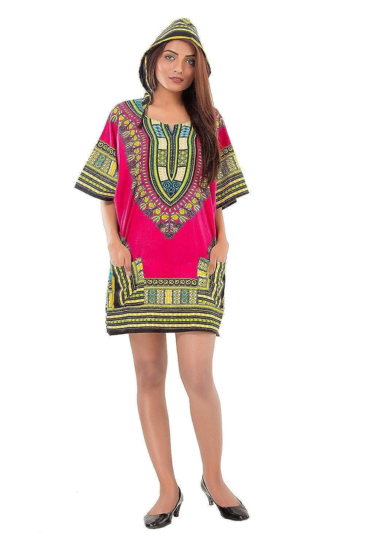 Pink Men Women African Dashiki Hoodie Top W//Hood Traditional Blouse Shirt XL,2XL