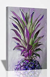 SpecialArt4Home Purple Pineapple Oil Paint Canvas Oil Hand Painting Pictures Printed for Wall Art Decor, Home Living Bedroom Office Decorations with Stretched Framed – Ready to Hang