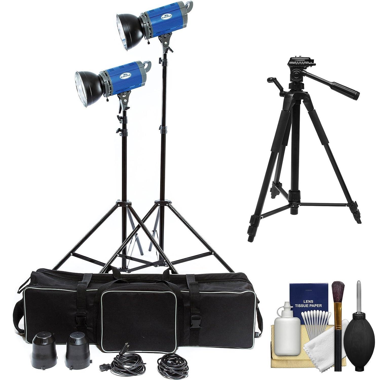 Savage LED2000K 2000 Watt LED 2 Studio Light Kit with 2 Lights, 2 Stands, 2 Reflectors & Case + Tripod + Kit