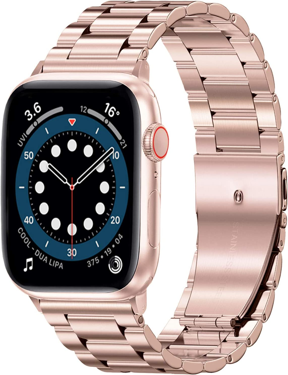 Shangpule Compatible with Apple Watch Band 42mm 44mm 38mm 40mm ,Stainless Steel Metal Wristband Men Women for iWatch SE & Series 6/5/4/3/2/1 (42MM/44MM, Rose Gold)