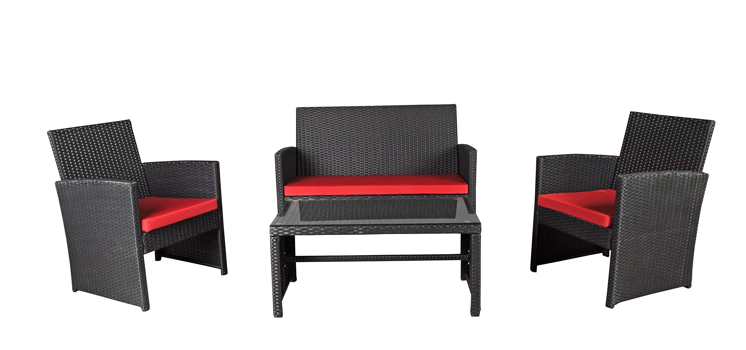 Modern Outdoor Garden, Patio 4 Piece Seat - Wicker Sofa Furniture Set (Black)
