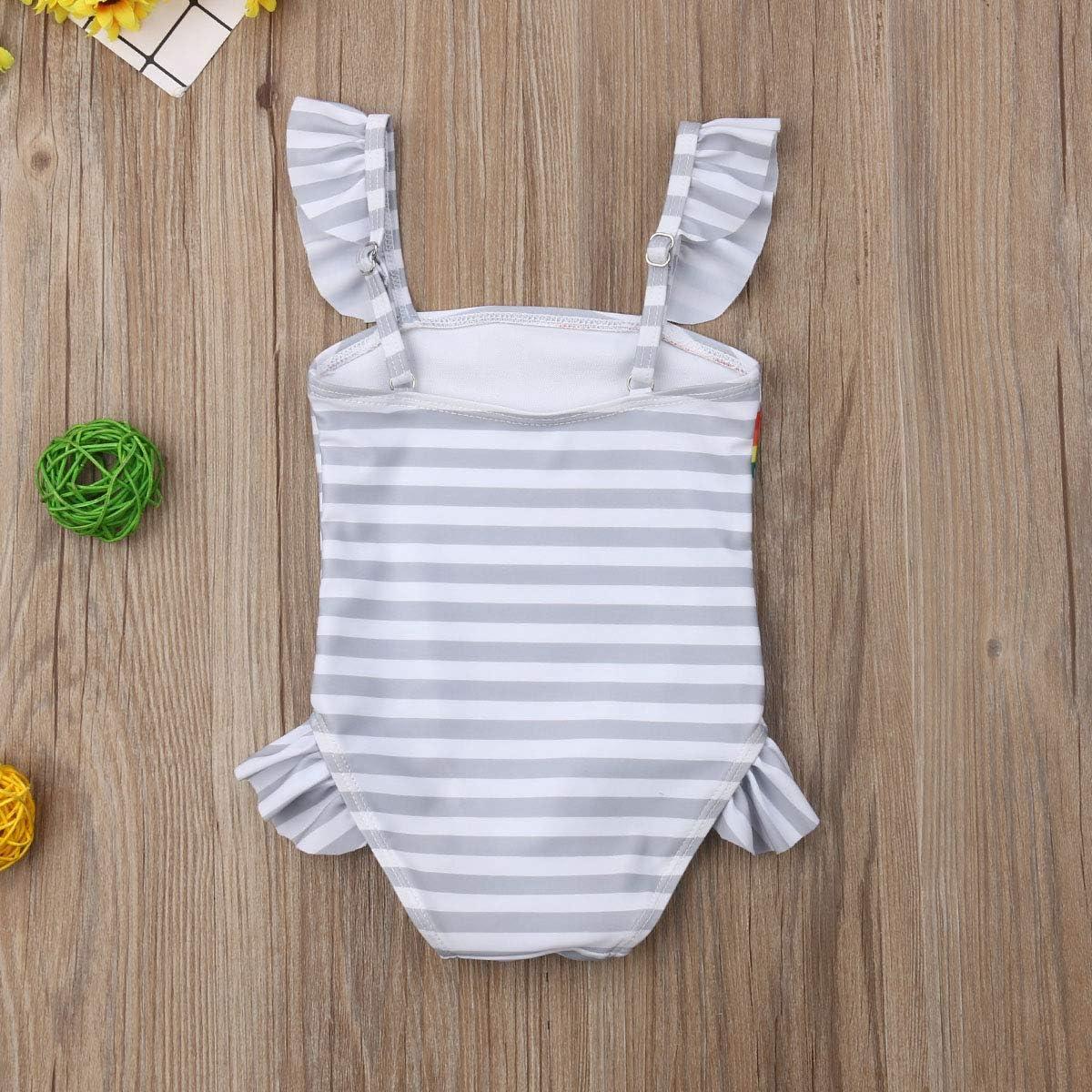 Kleinkind Baby M/ädchen Big Sisters Einteiler Badeanzug Zwillinge Regenbogen Druck Gestreift Strand Bademode Bikinis
