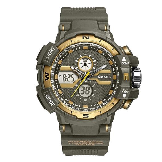 Beydodo Reloj de Doble Pantalla Relojes Electronicos Reloj Impermeable Relojes LED Reloj Hombre Moda Reloj Deportivo Reloj Multifunción Reloj Hombre Verde ...