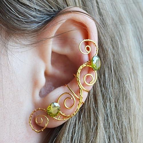 Amazoncom Gold Plated Ear Wrap Earrings Cosplay Elf Ear Cuffs