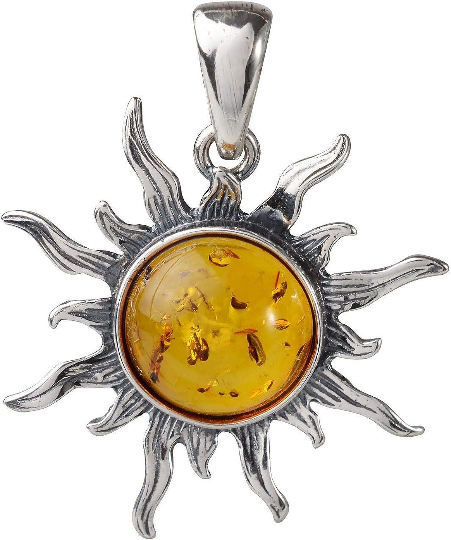 HolidayGiftShops Colgante Sol llameante de Plata esterlina y ámbar báltico