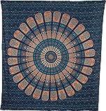 Luna Bazaar Cyra Bohemian Mandala Tapestry, Wall Hanging, and Bedspread (Large, 7 X 8 Feet, Blue and Orange, 100% Cotton, Fair Trade Certified)