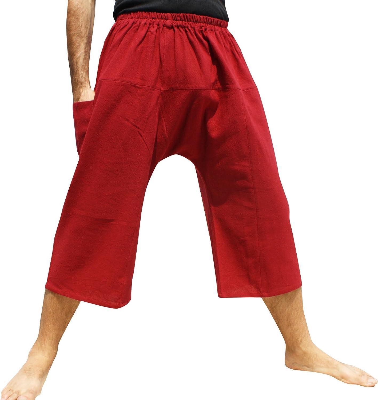 RaanPahMuang Brand Thailand Sadaw Baggy 3/4 Leg Peasants Pants Warm Cotton