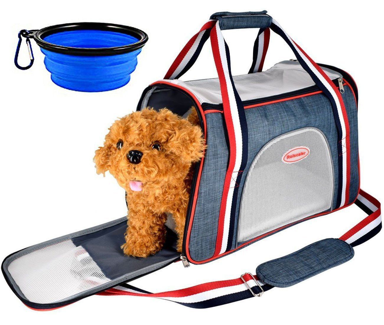 Rolscaler Soft Sided Carriers Pet Portable Bag with Food Water Feeding Portable Travel Bowl,Zippers Safety Clasp & Fleece Bedding,Perfect for Little Dog/Cat Airline Approved (Color - 2)
