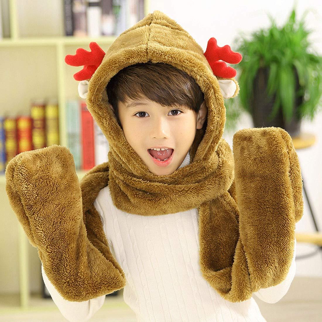 363f509663e1 Animal Fleece Hats Gloves Scarf 3 In 1 Set Winter Cap Baby Earflap Hood  Scarf for