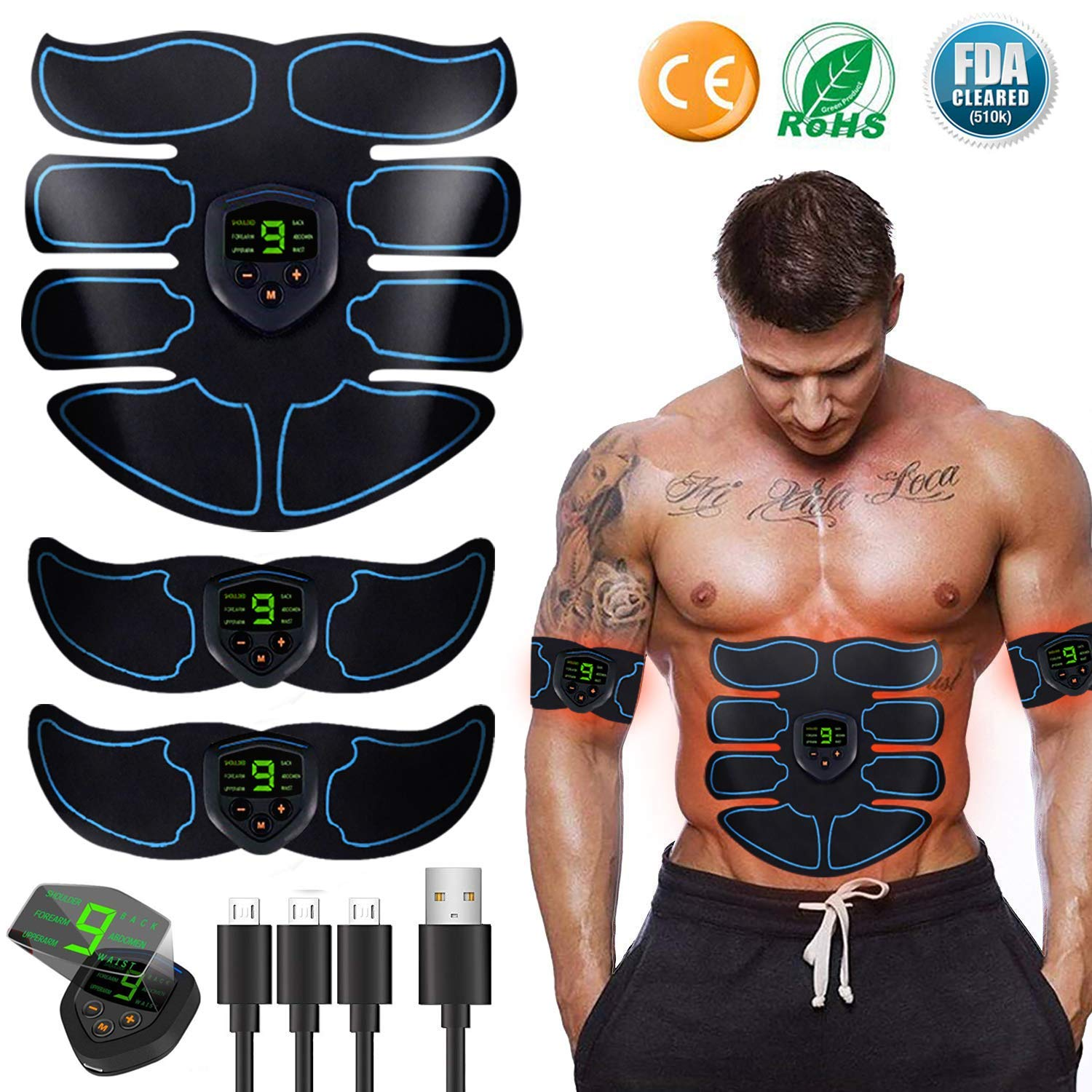 Abs Stimulator Ultimate Muscle Toner, EMS Abdominal Toning Belt for Men and Women, Arm and Leg Trainer, Office, Home Gym Fitness Equipment
