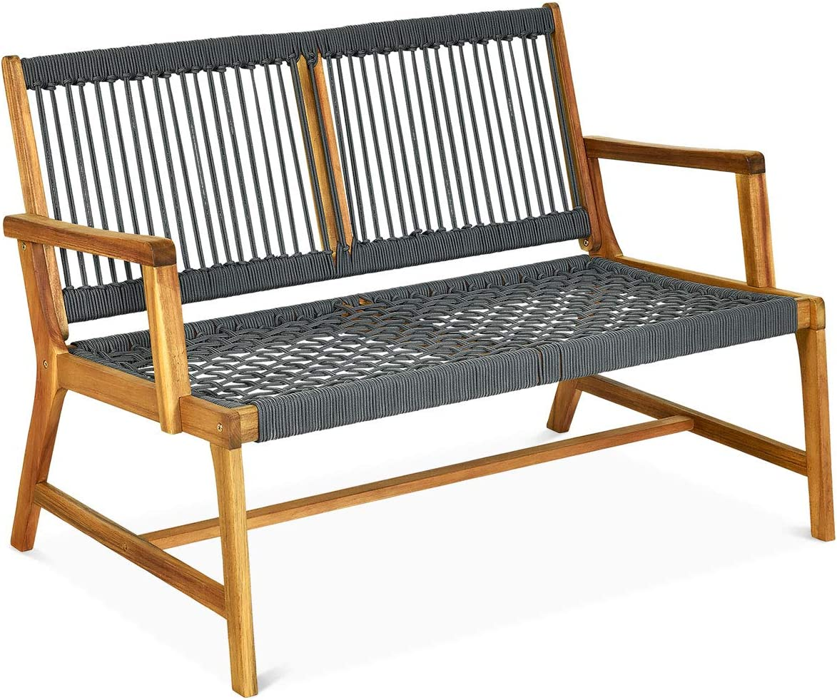 Tangkula 2-Person Patio Acacia Wood Bench Loveseat Chair, Outdoor Patio Bench Acacia Wood Bench in Teak Oil Finish, Patio Loveseat Rope Bench for Balcony Deck Poolside Porch (Grey)