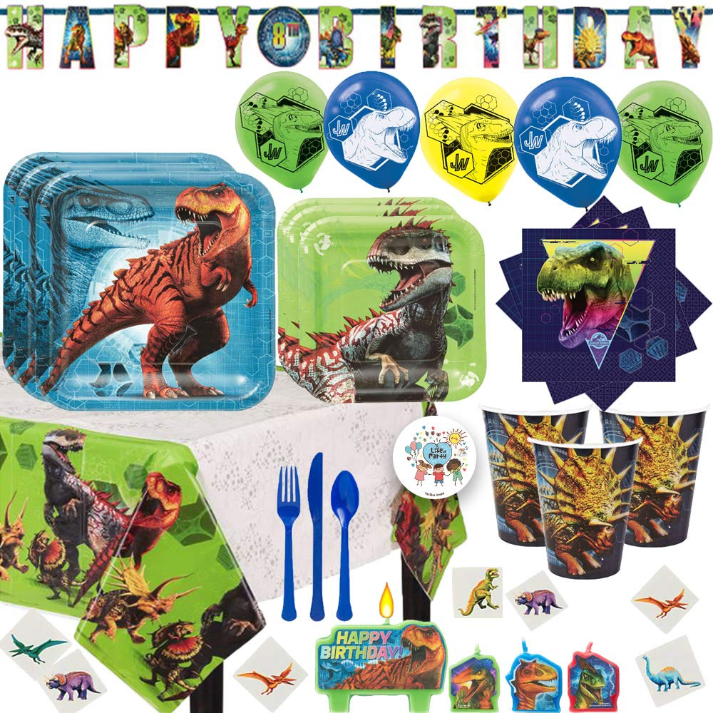 Deluxe Jurassic World Fallen Kingdom Birthday Party Supplies Pack For 16 With Plates, Cups, Napkins, Tablecover, Add An Age Banner, Balloons, Tattoos, Candles, Cutlery and Exclusive Pin by Another Dream