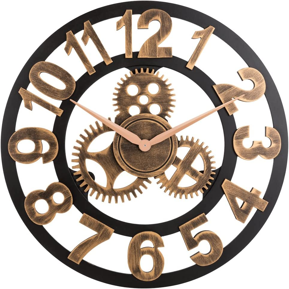 """Oldtown Clocks 23"""" inch Noiseless Silent Gear Wall Clock - Large 3D Retro Rustic Country Decorative Luxury Art Big Wooden Vintage for House Warming Gift, (Number-Anti-Bronze)"""