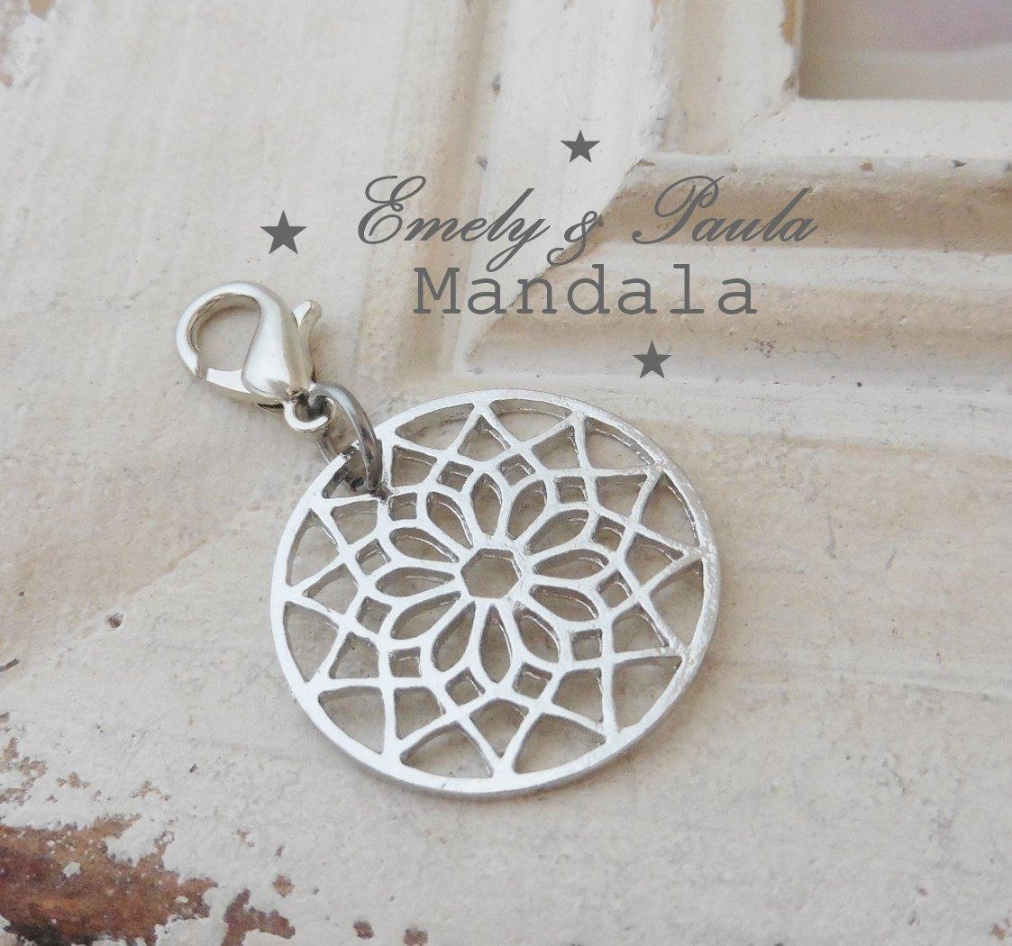 1 Charm Mandala Blume filigran Scheibe Karabiner Anhänger Meditation